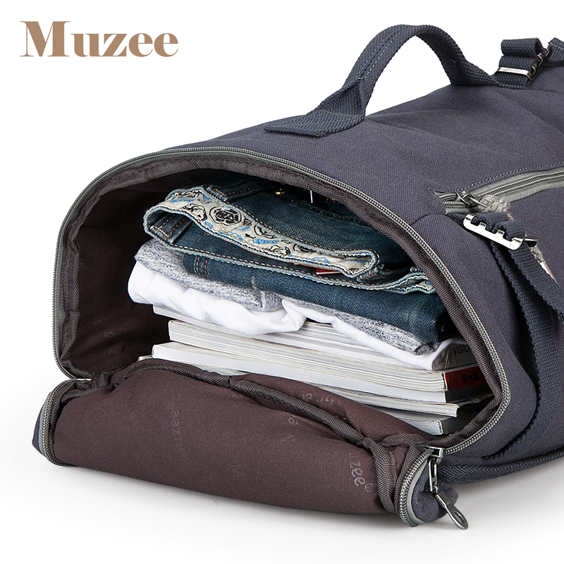 Muzee-mochila de viaje de alta capacidad para hombre, bolsa de equipaje, Cubo de lona, mochila masculina