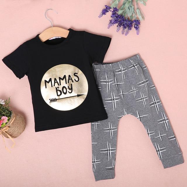 15afc9de8c57 2Pcs Newborn Toddler Baby boys girls Infant Clothes Golden Letter Mamas  Boys Printed Jumpsuit Outfit Sets 0-24M UK