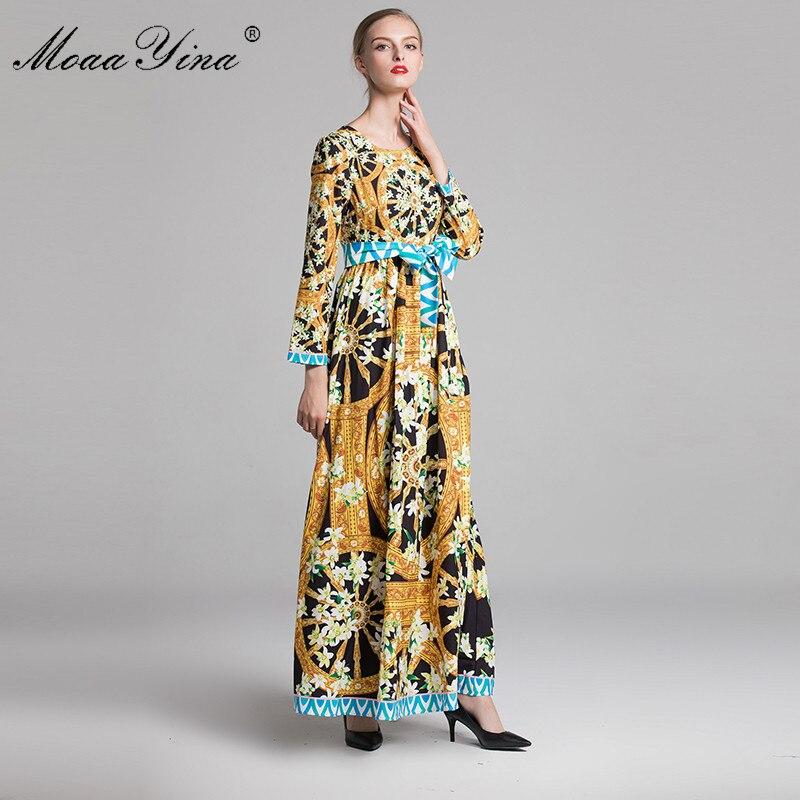 ae4c1f539ed6 In Pizzo Floreale Lunghe Donne Boemia Della A Modo Vintage Maniche Delle Vestito  Abiti Di Maxi Moaayina Del Stampa Elegante ...