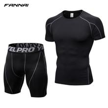 Compression Jogging Short Sleeve Tops Shorts Tracksuit Fitness Tight Running Set T-shirt Leggings Mens Sportswear Gym Sport Suit