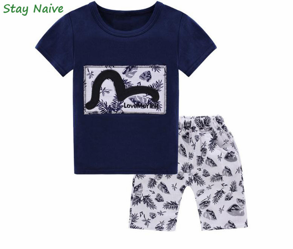2017 Summer Baby Boys Clothing Kids Boy  Tracksuit Short Sleeve T-shirt+Shorts 2pcs Outfit Suit Children Clothes Sets family fashion summer tops 2015 clothers short sleeve t shirt stripe navy style shirt clothes for mother dad and children