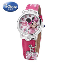Disney Brand Cartoon Children Girls Watches Mickey Mouse Elsa Princess Kids Clocks Diamond Waterproof Leather Quartz