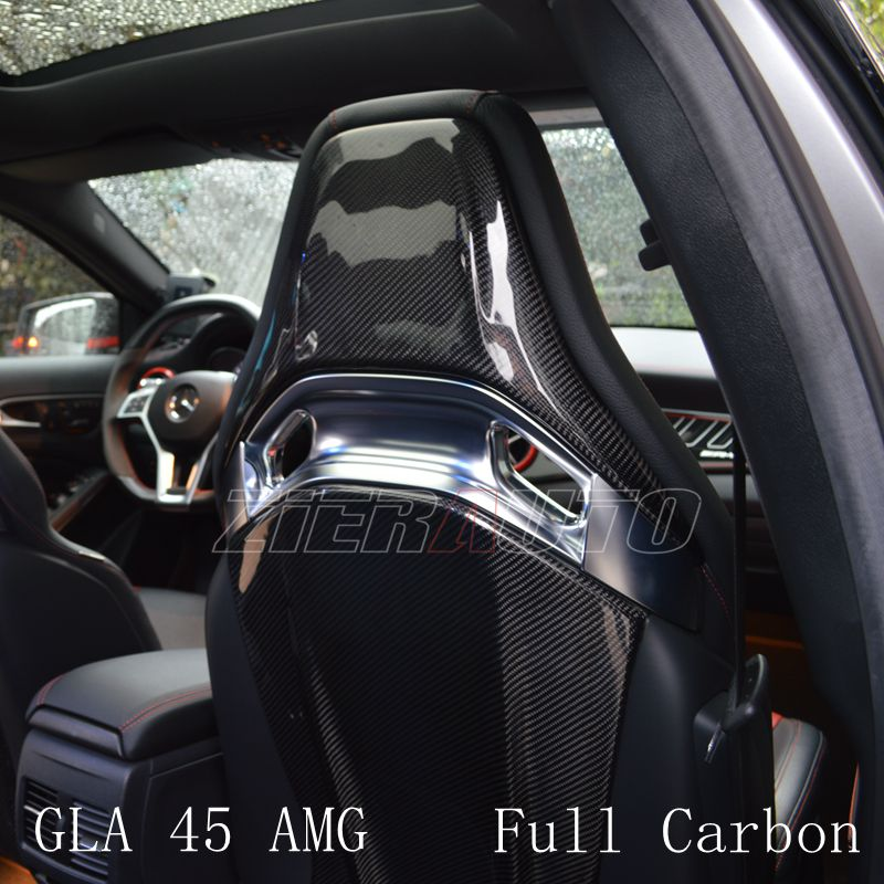 Seat Cover Carbon Fiber Style Interior Trims for Mercedes-Benz GLA 45 AMG Interior Part Dry Carbon Sticker Accessories GLA45 AMG