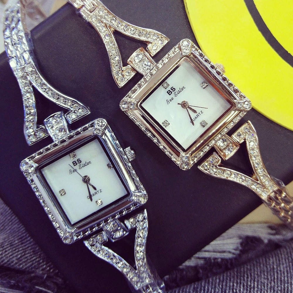 New Sale Famous Brand BS Luxury Lady Full Diamond Bling Bracelet Watch Korea Style Square Crystal Quartz Bangle Bracelet new fashion famous brand full diamond bracelet quartz watch luxury lady dress watch rhinestone bling crystal bangle watches