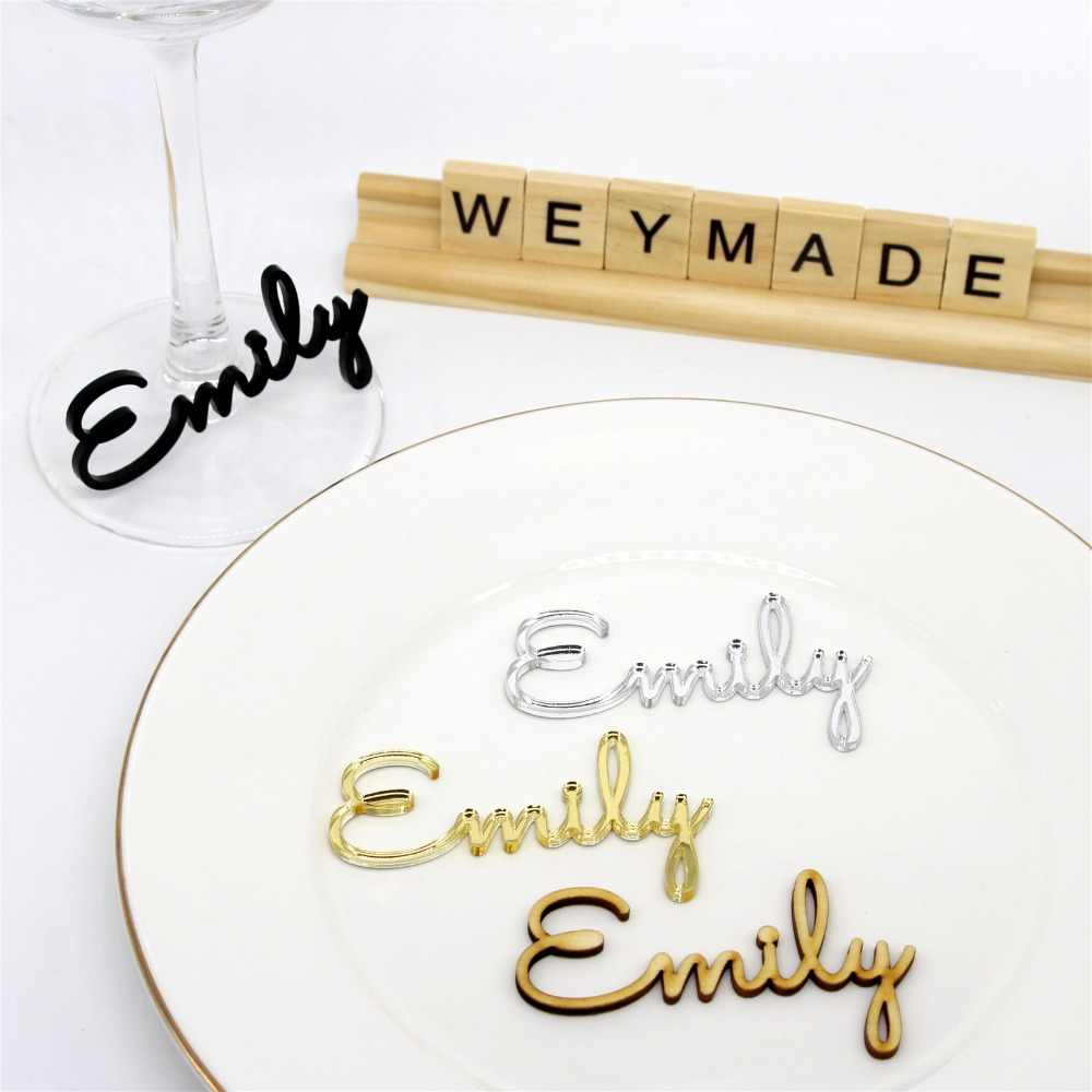 Personalized Laser Cut Guest Name Place Name Setting Silver / Gold Mirror Table Place Card Decoration Wedding Party Centerpieces