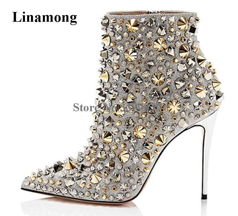 Women Charming Style Pointed Toe Gold Sliver Rivet Thin Heel Short Boots Sexy Stiletto Heel Spike High Heel Ankle BootiesWomen Charming Style Pointed Toe Gold Sliver Rivet Thin Heel Short Boots Sexy Stiletto Heel Spike High Heel Ankle Booties