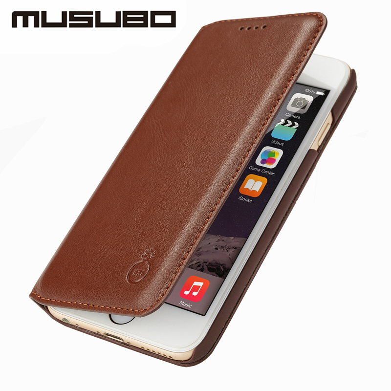 Musubo Ultra Slim phone Case for iPhone 7 Plus X Genuine Leather Luxury Flip Cases Cover For iPhone 8 Plus 6 Plus 6s 5 5s SE S8