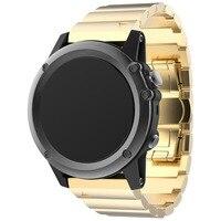Metalen Armband Rvs Horloge Wrist Band Strap Voor Garmin Fenix 3/HR Colour: Goud