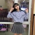 Otoño primavera Nueva de Corea del Viento Colegio Suelta y Cómoda de Manga Larga Camisa de Ocio Alumna Marea Abrigo