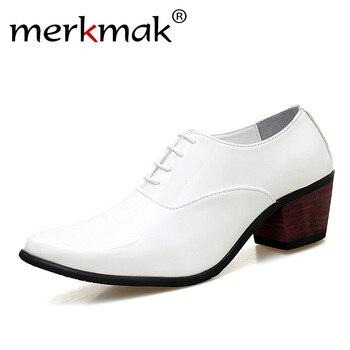 448d06a4e0730 Merkmak Erkekler Patent Deri Oxford Ayakkabı Moda Elbise Düğün Damat  Ayakkabı Nefes Sivri Burun Yüksek Topuklu Resmi İş Balo