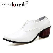 78a431e2bac2f9 Merkmak hombres patente de cuero Oxford zapatos de moda Zapatos de vestido  de novio de Boda