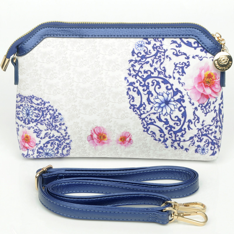 2016 new design chinese national flavor blue and white porcelain small PU material cross body bule shoulder bag SM078