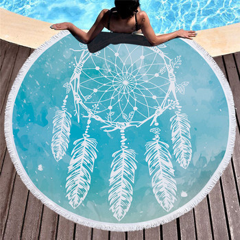 Round beach towel microfiber wind chimes prints wi