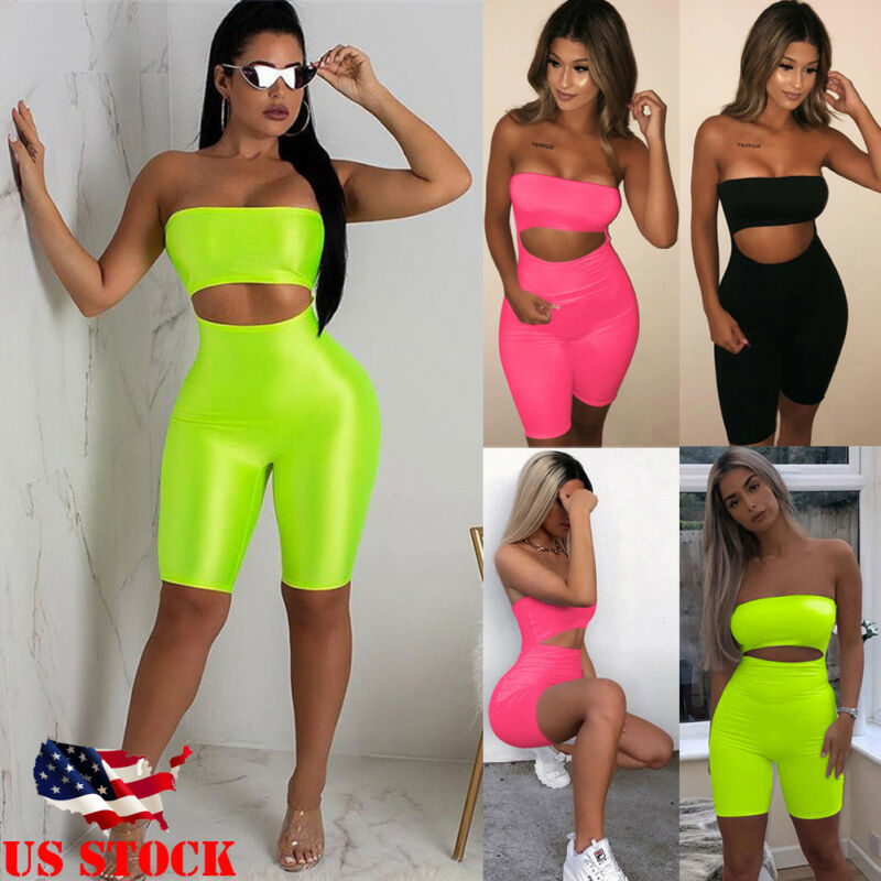 Sexy Women's Casual Sleeveless Hollow Out Bodycon Romper Jumpsuit Club Bodysuit Short Pants(China)