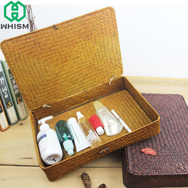 WHISM Handmade Wicker Basket Cosmetic Makeup Organizer Jewelry
