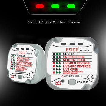 Steckdose Tester BSIDE AST01 Outlet Detektor RCD GFCI Test EU US UK AU Stecker Boden Null Linie Stecker Polarität Phase überprüfen