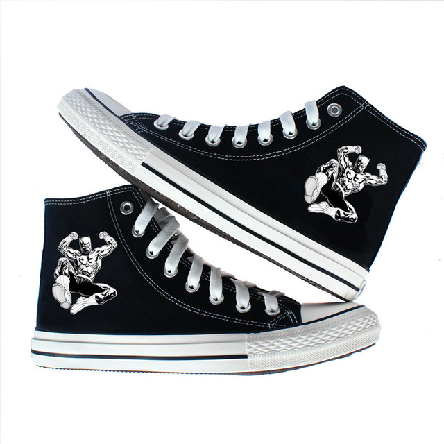 7c08915093 Marvel Black panther Shoes High top Canvas Flat Sneakers Shoes Women Casual  Printing Shoes Unisex Leisure Shoes