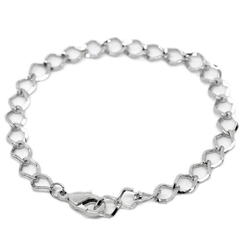 12PC Alloy Lobster Clasp Bracelet Square Pattern Chain