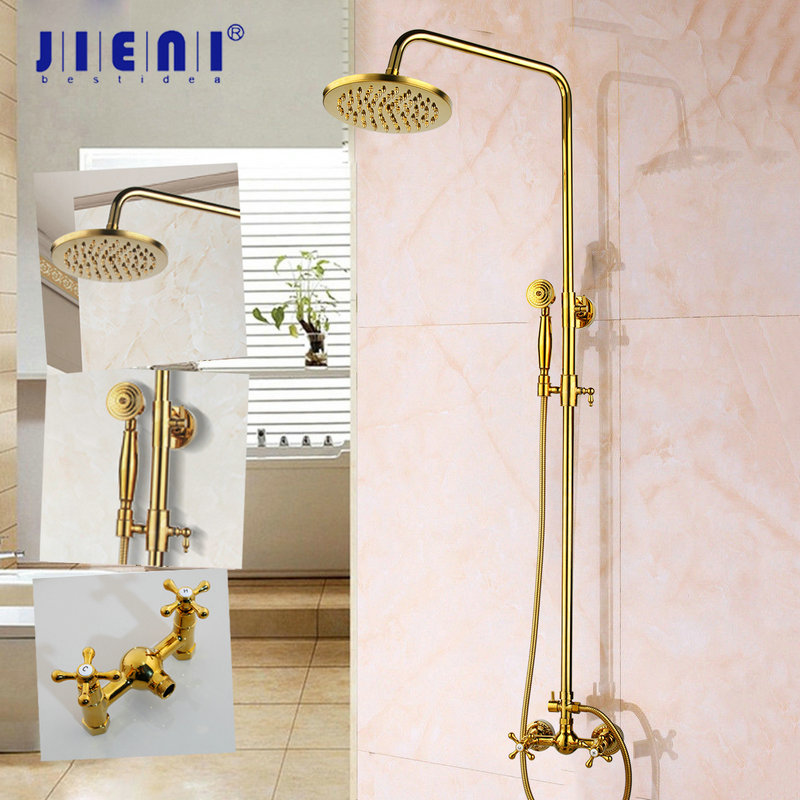 Golden plated Style Gold Color Bath Tub Faucet Ceramic Handle Handheld Shower Head Faucet Mixer Tap Bathroom Shower Set free shipping shower mixer faucet mixer tap g018 luxury golden style bathtub faucet ceramic handle handheld bath
