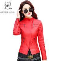Mùa thu PU leather jacket nữ red & black xe máy Faux Dây Kéo da nữ mỏng mujer invierno cộng với kích thước OL văn phòng áo