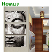 HOMLIF 5D Diamond painting Gray 3 Panel Modern Large Oil Style Buddha Wall Decor Home Living Room Decorations Full Square Dirll