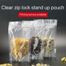 clear stand up pouch with zipper plastic laminated zip lock bag resealable food packaging bags custom printing available(China)