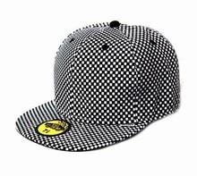 New Arrivals Plaid Flat Brim Full Closed Closure Cap Bboy Hip-hop Hat Striped Snapback Casual Baseball Fitted Caps