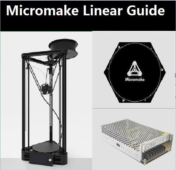 Micromake 3D Imprimante Linéaire Guide DIY Kit Kossel Delta Auto Nivellement Grande Taille D'impression 3D En Métal Imprimante