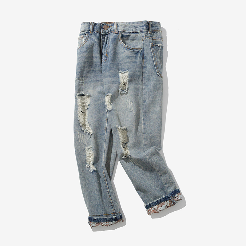 2018 Summer And Autumn Micro-shots Thin Harlan Fat XL 28-40 Leisure Jeans Personality Fashion Classic Men's Popular Shipping