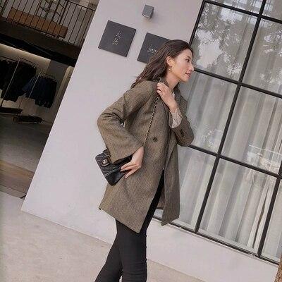 Veste Nouveau Double Lâche Blazers Veston Petit Costume Long Femmes Rétro 1 À Femme Boutonnage 5ARBqwWTa