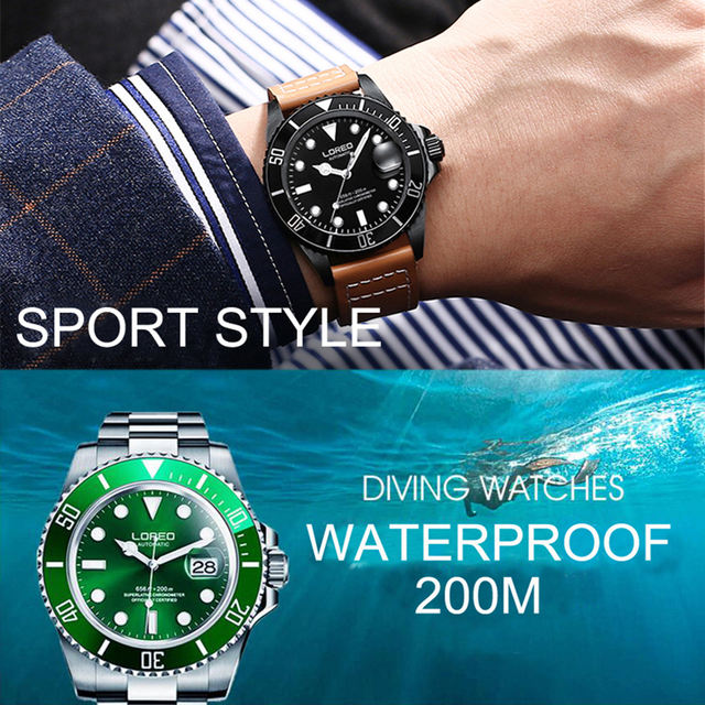 New LOREO Water Ghost Series Classic Blue Dial Luxury Men Automatic Watches Stainless Steel 200m Waterproof Mechanical Watch