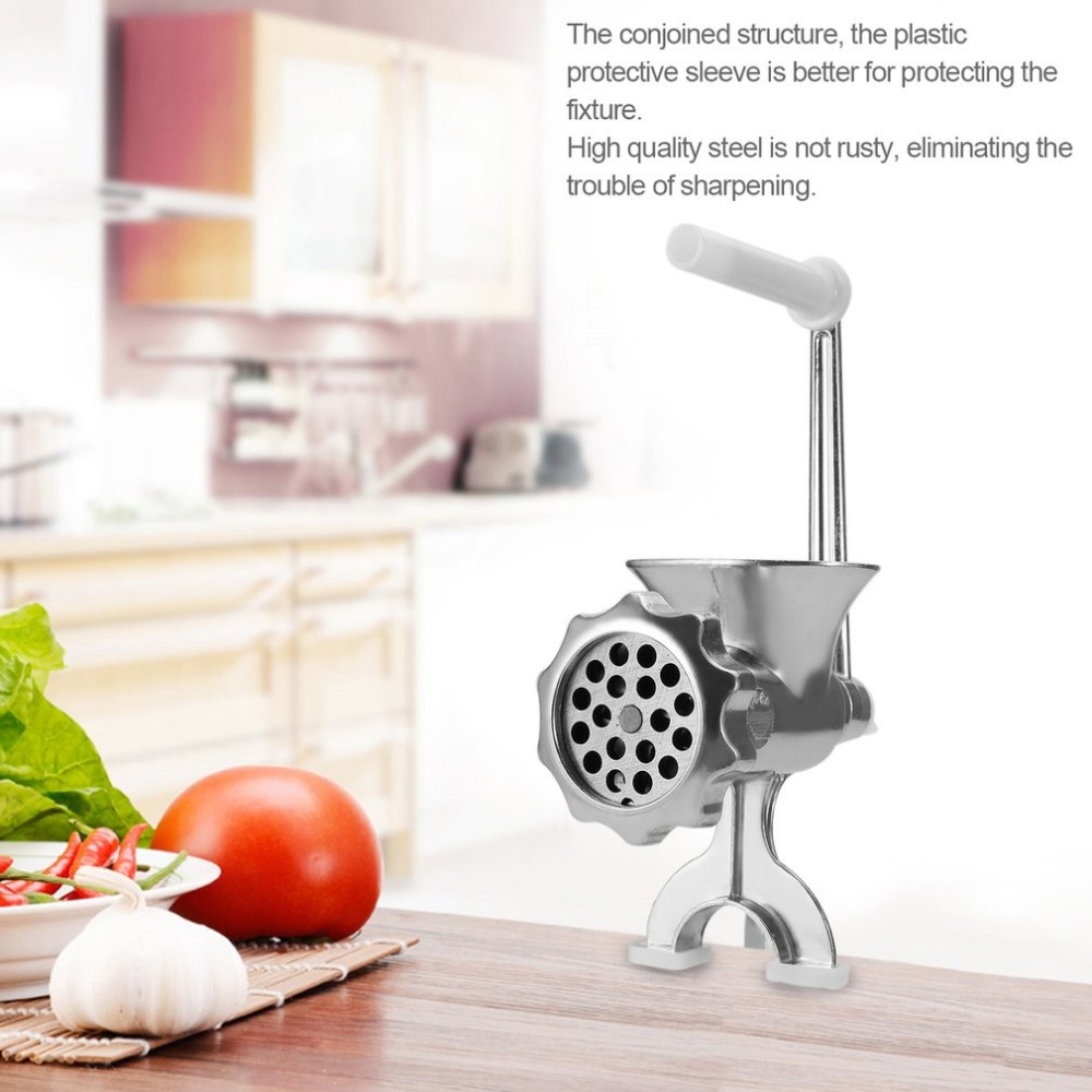 Hand Cast Aluminum Manual Meat Grinder Mincer Machine Sausage Table Crank Tool for Home Kitchen Cutter Slicer Beef manual meat slicer mincer cast iron meat grinder machine sausage stuffer filler table crank tools home kitchen vegetable cutter