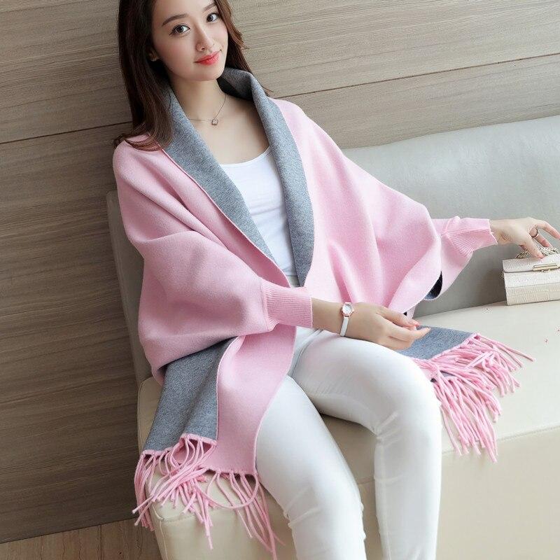 2017 Neue Frauen Lange Pullover Herbst Und Winter Pullover Fledermaus Shirt Mantel Schal Jacke Reine Farbe Strickjacke Strickjacken Mantel Zu Verkaufen