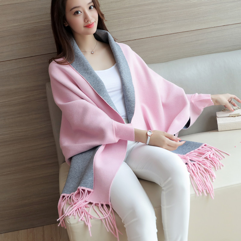 2017 new women long sweater autumn and winter sweater bat shirt cloak shawl jacket pure color cardigan Cardigans Coat