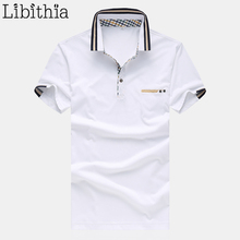 Men Polo Shirts Cotton Brand Summer Mens Solid Colors Homme Plus Size 4XL 5XL Shirt Breathable Dress Blouse White Blue S21