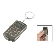 New Gray Hard Plastic Casing 8 Digits Electronic Mini Calculator w Keychain