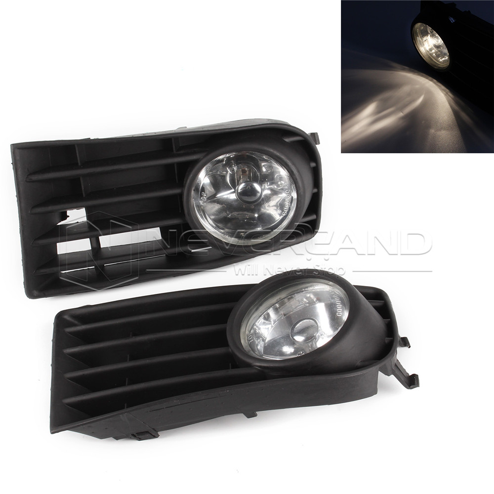 ФОТО One Pair Black Front Fog Lamp Lights Grill Grilles Kit For VW Golf Mk5 Rabbit 2006-2009 White H3 55W Wholesale D10