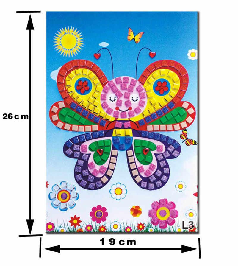 3D DIY espuma mosaico calcomanías de cristal arte EVA niños rompecabezas dibujos animados creativo juguetes educativos para chico 12 estilo de fondo seleccionar