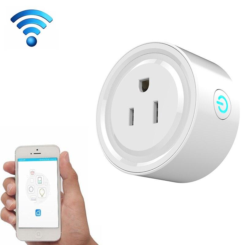 10A Rond Forme WiFi Mini Plug APP Télécommande Calendrier Prise Intelligente Fonctionne avec Alexa et Google Maison, AC 100-240 V, US Plug