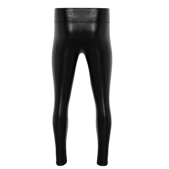 Mens Clothing Sexy Pants Male Wetlook Jockstraps PU Leather Thin Velvet Lining Bulge Pouch Pants Leggings Muscle Tights Pants 2