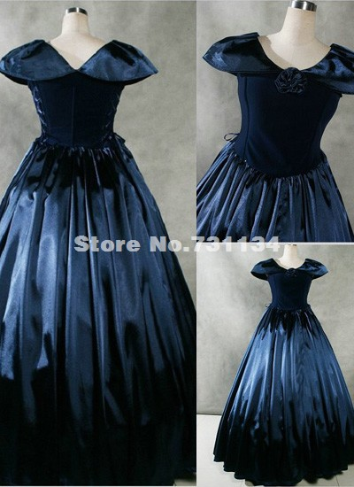 Fancy Navy Blue Gothic Victorian Civil War Period Dress