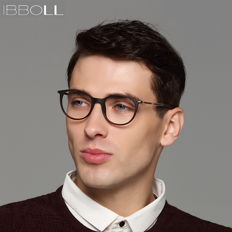 Ibboll 2018 Fashion Optical Glasses Frame Men Luxury Brand Plastic Round Eyeglasses With Clear Lens Mens Eye Glass Frames S6077