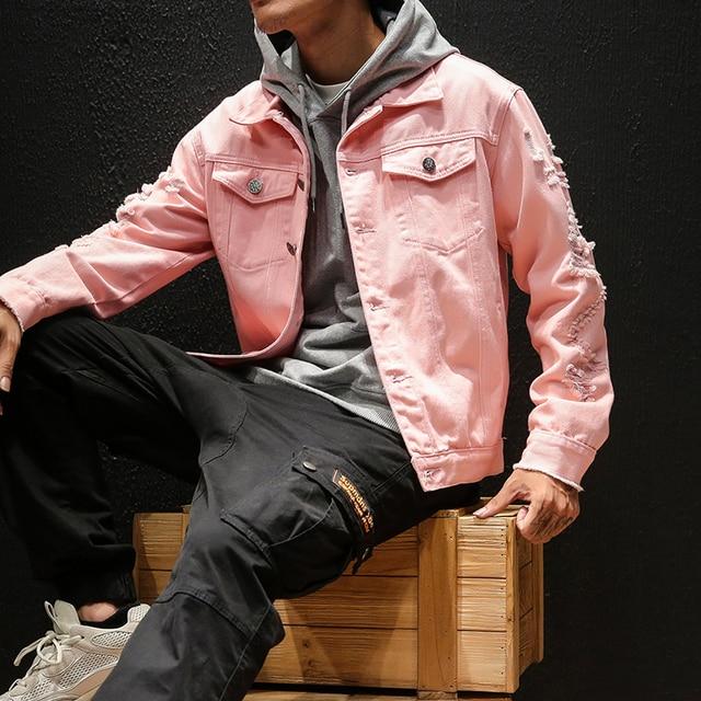 Men's Denim Jacket Retro washing frayed Classic Lapel Ripped Distressed Denim Coat Male