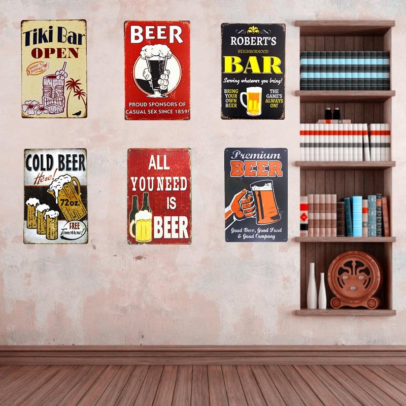 shabby chic vintage lata del metal signos bar pub beer drinking poster pared placa restaurante pegatinas