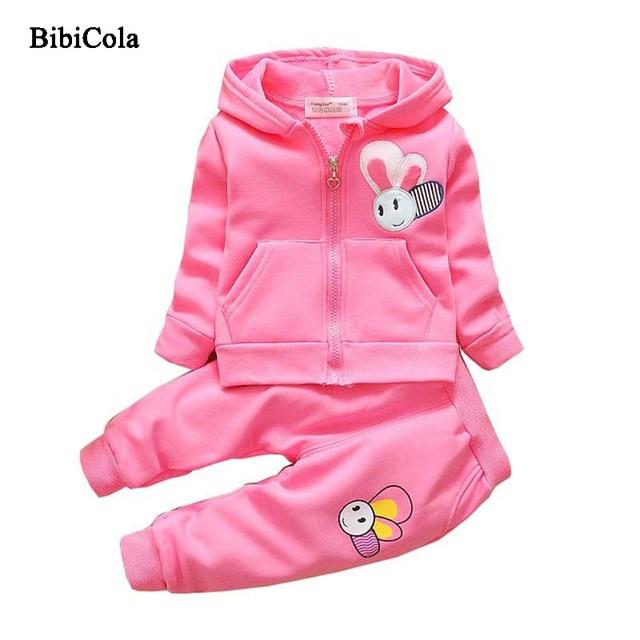 71d790dd3 BibiCola Spring Autumn Children Girls Hoodies Coat+Pants infants ...