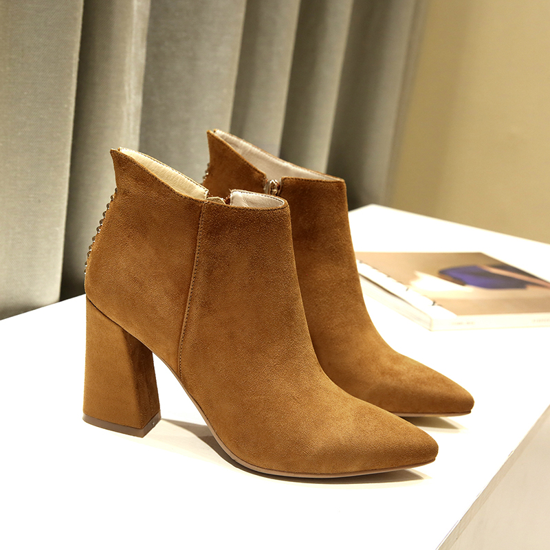 ФОТО Women's Thick High Heel Pointed Toe Genuine Suede Leather Spring Autumn Ankle Boots Brand Designer Short Booties Shoes for Women
