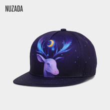 NUZADA HD 3D Printing Northern Europe Elk Pattern Hip Hop Cap For Men Women Couple Bone Spring Summer Cotton Fashion Caps(China)