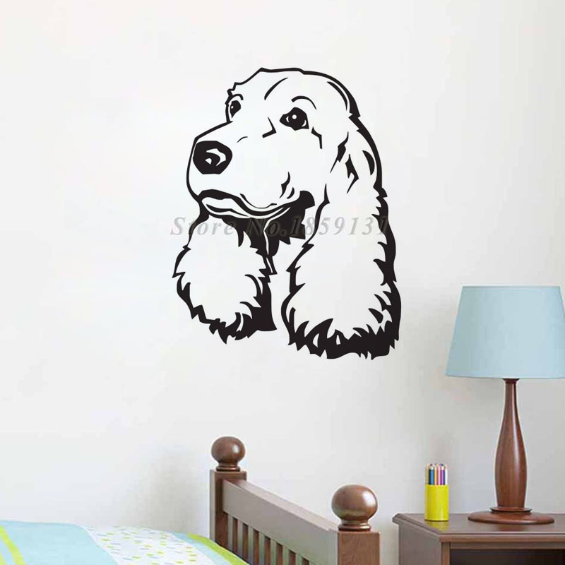 Girls Favorite Puppy Dog Cute Wall Stickers Home Decor Living Room Hollow Out Waterproof Cocker Spaniel Wall Decal For Nursery