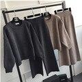 [Soonyour] 2017 nova europeu elegante longo-manga de tricô cor cáqui qualidade set atacado estilo americano asm004