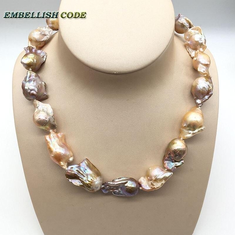 Gran Perla Barroca Irregular declaración collar tejido nucleado flameball melocotón púrpura mezclado perlas naturales joyería popular